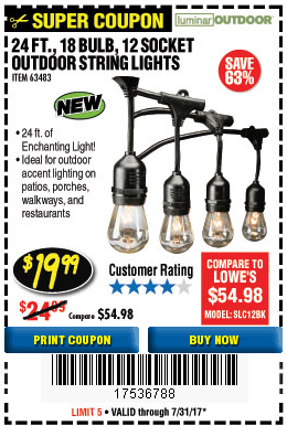 Harbor Freight 24 FT., 18 BULB, 12 SOCKET OUTDOOR STRING LIGHTS coupon