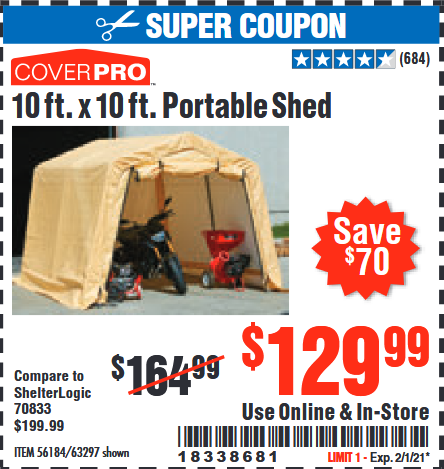 www.hfqpdb.com - COVERPRO 10 FT. X 10 FT. PORTABLE SHED Lot No. 63297