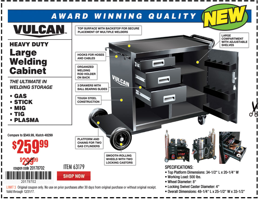 Harbor Freight COMMERCIAL QUALITY HEAVY DUTY WELDING CABINET coupon