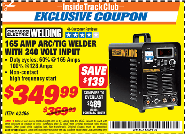 Harbor Freight 165 AMP ARC/TIG WELDER WITH 240 VOLT INPUT coupon
