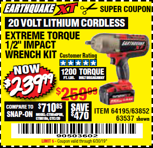 "www.hfqpdb.com - EARTHQUAKE XT 20 VOLT CORDLESS EXTREME TORQUE 1/2"" IMPACT WRENCH KIT Lot No. 63852/63537/64195"