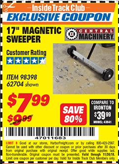 """www.hfqpdb.com - 17"""" MINI MAGNETIC SWEEPER Lot No. 62704/98398"""