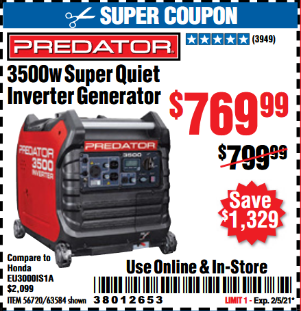 www.hfqpdb.com - PREDATOR 3500 WATT SUPER QUIET INVERTER GENERATOR Lot No. 56720/63584