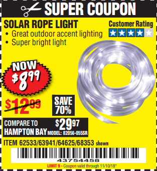 Harbor freight tools coupon database free coupons 25 percent off harbor freight coupon solar rope light lot no 683536253363941 valid thru solar rope light lot no 683536253363941 valid thru 111018 899 coupon aloadofball Image collections