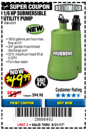 Harbor Freight 1/6 HP SUBMERSIBLE UTILITY PUMP coupon