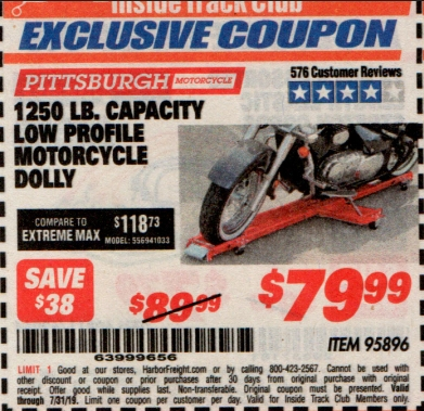 www.hfqpdb.com - 1250 LB. CAPACITY LOW PROFILE MOTORCYCLE DOLLY Lot No. 95896