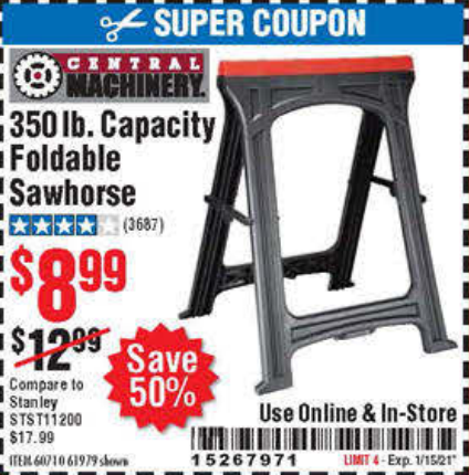 www.hfqpdb.com - 350 LB. CAPACITY FOLDING SAWHORSE Lot No. 69446/60710/61979