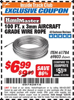 Harbor Freight 3MM X 100FT AIRCRAFT GRADE WIRE ROPE coupon