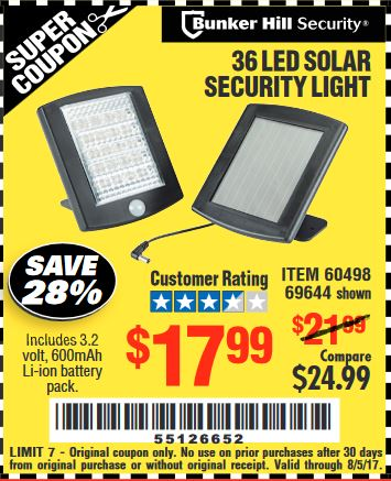 Harbor Freight 36 LED SOLAR SECURITY LIGHT coupon