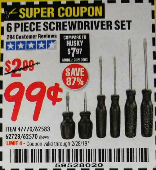 www.hfqpdb.com - 6 PIECE SCREWDRIVER SET Lot No. 47770/61313/62570/62583/62728
