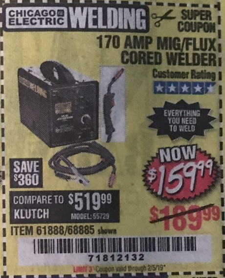 Harbor Freight 170 AMP MIG/FLUX WIRE FEED WELDER coupon