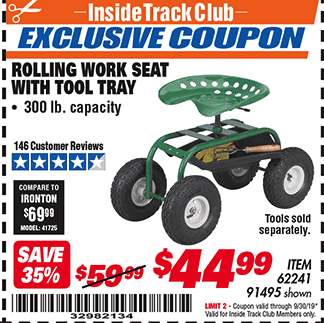 Harbor Freight ROLLING WORK SEAT WITH TOOL TRAY coupon