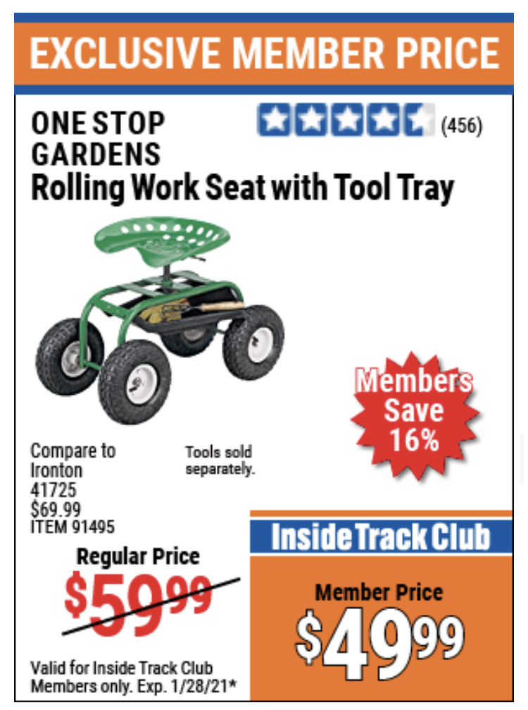 www.hfqpdb.com - ROLLING WORK SEAT WITH TOOL TRAY Lot No. 62241/91495