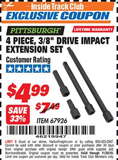 """www.hfqpdb.com - 4 PIECE 3/8"""" DRIVE IMPACT EXTENSION SET  Lot No. 67926"""