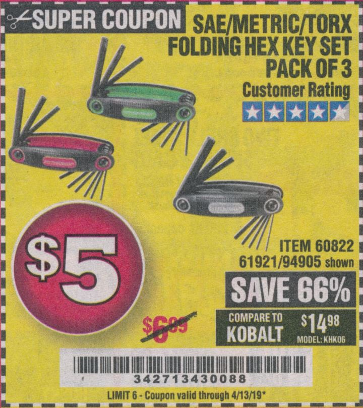 www.hfqpdb.com - SAE/METRIC/TORX FOLDING HEX KEY SET PACK OF 3 Lot No. 94905/60822/61921