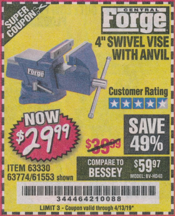 "www.hfqpdb.com - 4"" SWIVEL VICE WITH ANVIL Lot No. 67035/63330/61553"