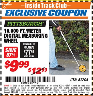 Harbor Freight 10,000 FT. DIGITAL MEASURING WHEEL coupon