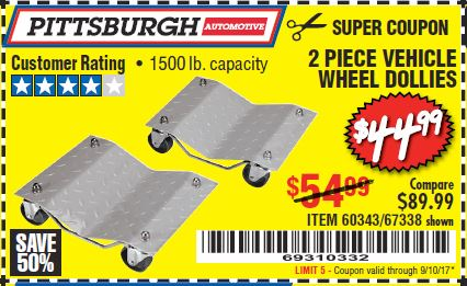 Harbor Freight 2 PIECE VEHICLE WHEEL DOLLIES 1500 LB. CAPACITY coupon