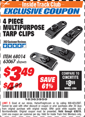 Harbor Freight 4 PIECE MULTIPURPOSE TARP CLIPS coupon