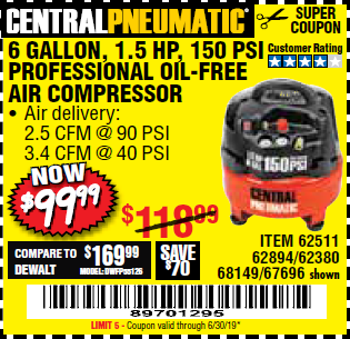 www.hfqpdb.com - 1.5 HP, 6 GALLON, 150 PSI PROFESSIONAL AIR COMPRESSOR Lot No. 62894/67696/62380/62511/68149