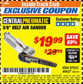 """www.hfqpdb.com - 3/8"""" AIR BELT SANDER Lot No. 97055/60627"""