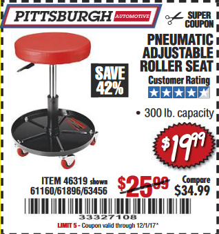 Harbor Freight PNEUMATIC ADJUSTABLE ROLLER SEAT coupon