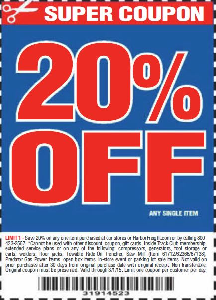 Harbor Freight Coupon 20 percent off coupon expires: 3/1/15