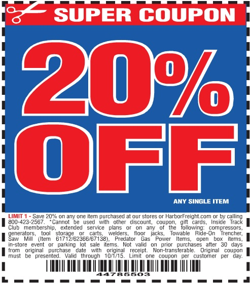 Harbor freight 25 percent off coupons