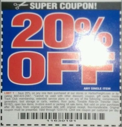 Harbor freight 20 percent off coupon july 2018