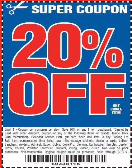 Harbor Freight 20 percent off coupon