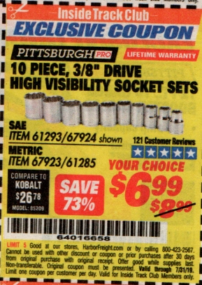 "www.hfqpdb.com - 10 PIECE, 3/8"" DRIVE HIGH VISIBILITY SOCKET SETS Lot No. 61293/67924/67923/61285"