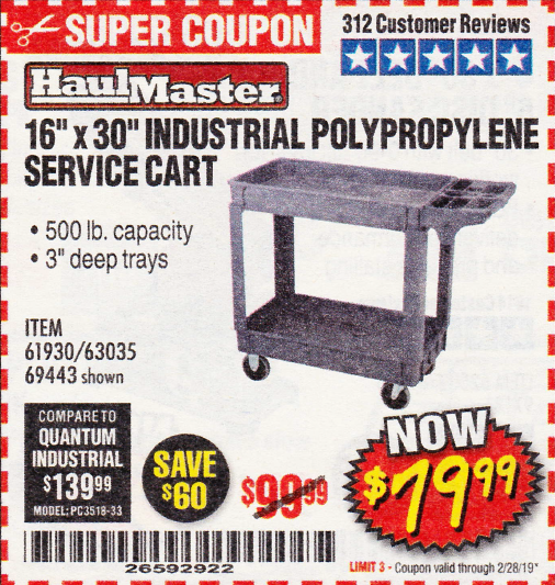 "www.hfqpdb.com - 16"" x 30"" TWO SHELF INDUSTRIAL POLYPROPYLENE SERVICE CART Lot No. 61930/92865/69443"