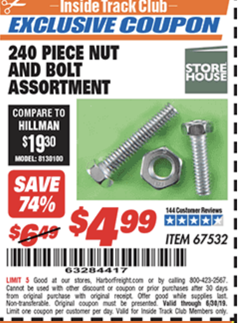 Harbor Freight 240PIECE NUT AND BOLT ASSORTMENT coupon