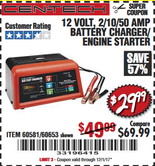 Harbor Freight BATTERY CHARGER coupon