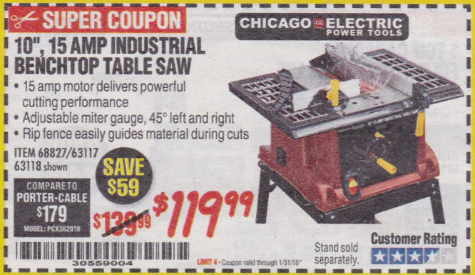 Harbor freight tools coupon database free coupons 25 percent off 10 15 amp benchtop table saw lot no 688276311763118 expired 13118 11999 keyboard keysfo Choice Image