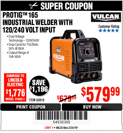 www.hfqpdb.com - VULCAN PROTIG 165 WELDER WITH 120/240 VOLT INPUT Lot No. 63618