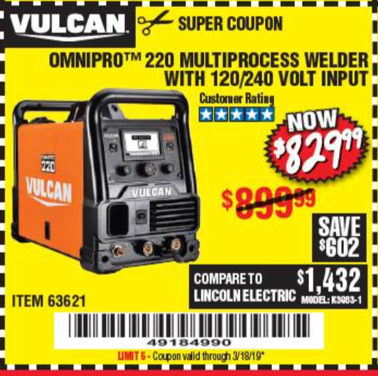 www.hfqpdb.com - VULCAN OMNIPRO 220 MULTIPROCESS WELDER WITH 120/240 VOLT INPUT Lot No. 63621/80678