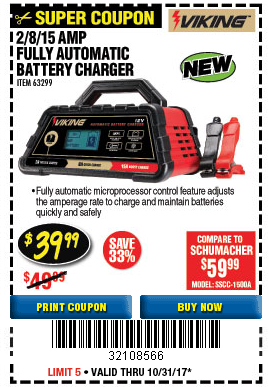 Harbor Freight 2/8/15 AMP FULLY AUTOMATIC BATTERY CHARGER coupon