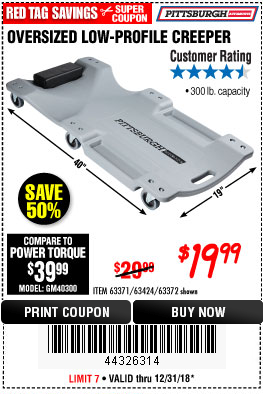 Harbor Freight OVERSIZED LOW-PROFILE CREEPER coupon