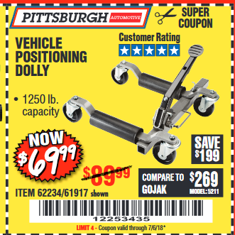 Harbor Freight 1250 LB. VEHICLE POSITIONING DOLLY coupon