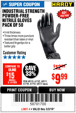 www.hfqpdb.com - INDUSTRIAL STRENGTH POWDER-FREE NITRILE GLOVES PACK OF 50 Lot No. 68510