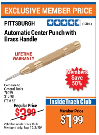 Harbor Freight AUTOMATIC CENTER PUNCH WITH BRASS HANDLE coupon