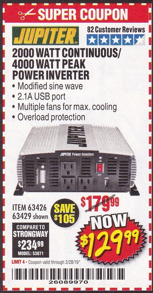 www.hfqpdb.com - 2000 WATT CONTINUOUS/4000 WATT PEAK POWER INVERTER Lot No. 63426/63429