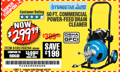 www.hfqpdb.com - 50 FT. COMMERCIAL POWER-FEED DRAIN CLEANER Lot No. 68284/61857