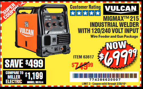 Harbor Freight VULCAN MIGMAX 215A WELDER coupon