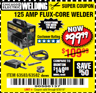 www.hfqpdb.com - 125 AMP FLUX-CORE WELDER Lot No. 63583/63582