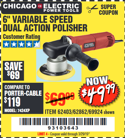 "www.hfqpdb.com - 6"" VARIABLE SPEED DUAL ACTION POLISHER Lot No. 69924/62403/62862"