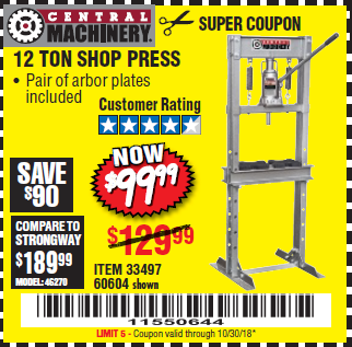 Harbor Freight 12 TON SHOP PRESS coupon