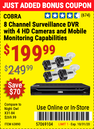 www.hfqpdb.com - 8 CHANNEL SURVEILLANCE DVR WITH 4 HD CAMERAS AND MOBILE MONITORING CAPABILITIES Lot No. 63890