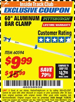 """www.hfqpdb.com - 60"""" ALUMINIUM BAR CLAMP Lot No. 60594"""